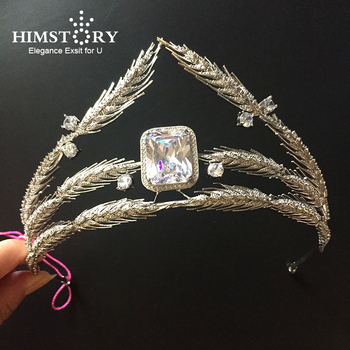 Luxurious Cubic Zirconia Hair Crown Wheat Branch Headband Party Queen Headpiece Wedding Hair Accessories