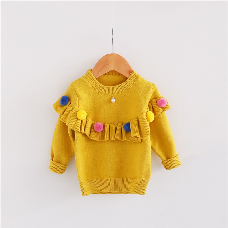 7fddcf24a Ins Baby Girls Sweaters Kids Handmade Pom Pom Sweater Coats For ...