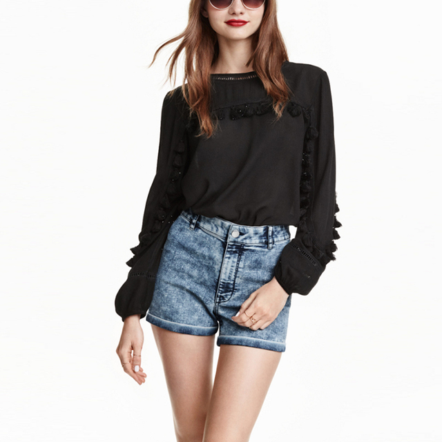 41bfaa5732136 New Design Fashion Black Tops Women Cotton Long Sleeve Tassel Shirts Loose  Casual Ladies Shirt LBEC9391-0708