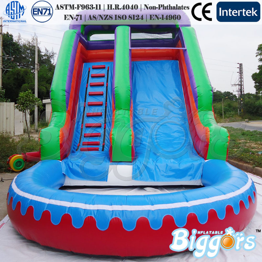 2018 Inflatable Slide Water Slide With Pool For Adults and Kids Game commercial grade inflatable water game park inflatables double slide with pool for kids and adult on sale