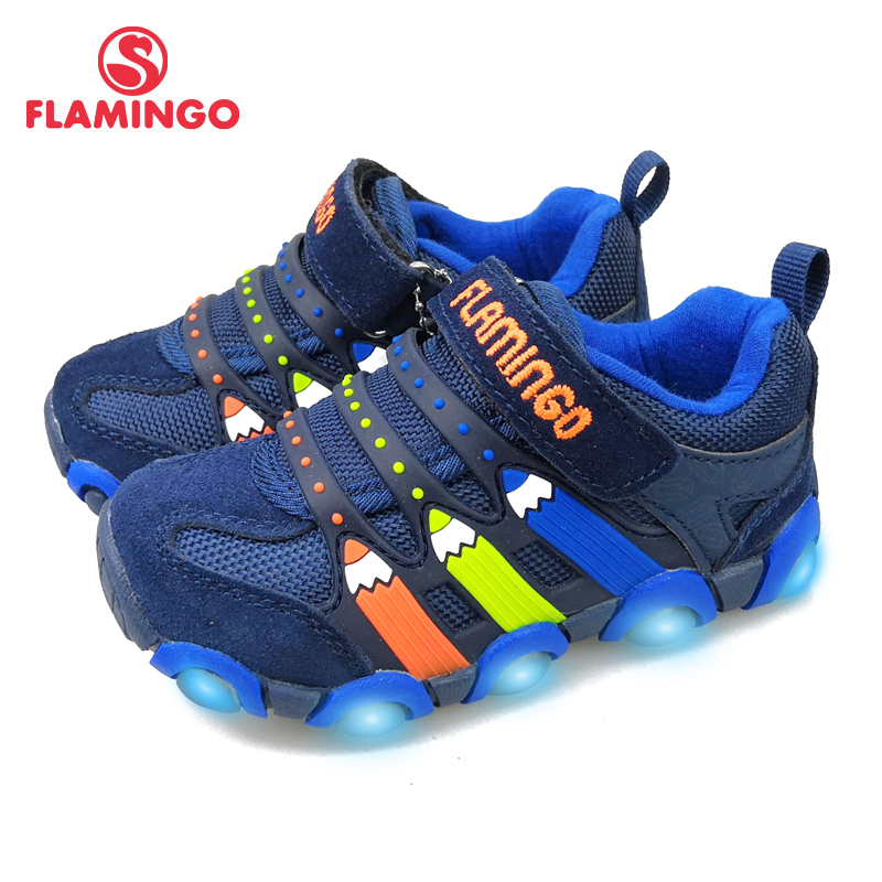 FLAMINGO Brand Leather Insoles LED Spring& Summer Children Walking Shoes Size 23-28 Kids Sneaker  91K-SM-1239/ 91K-SM-1240 bonjomarisa new brand plus size 33 40 cow leather flower woman shoes high heel women shoes black office summer sandals