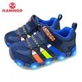 Zapatillas de deporte para niños de marca flamencos con plantillas de cuero LED de primavera y verano tamaño 23-28 zapatillas de deporte para niños 91K-SM-1239/91K-SM-1240