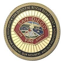 Поставка золотое покрытие город Сан-Диего пожарный отдел вызов монета/медаль 1338