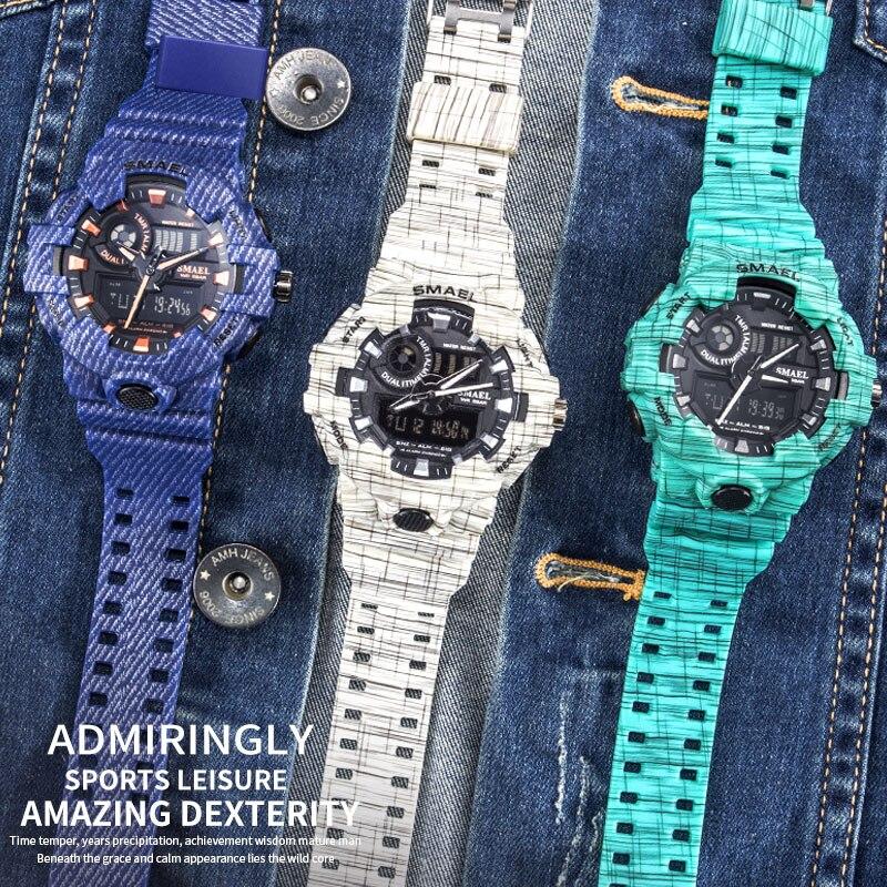 Мужские спортивные наручные часы SPOVAN, спортивные часы из натуральной кожи с компасом/Pacer/водонепроницаемой светодиодной подсветкой - 3