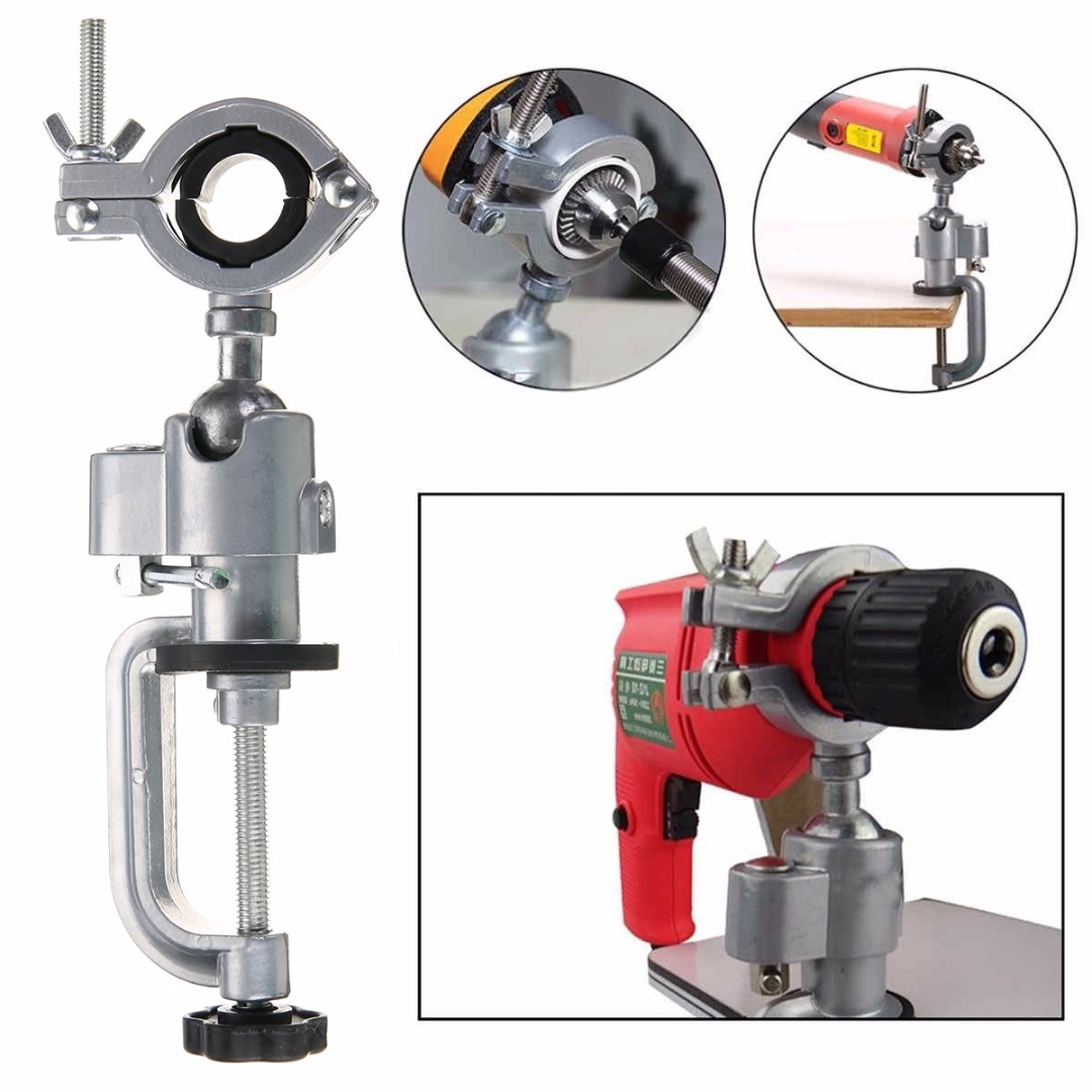 FGHGF Universal Clamp-on Grinder Bench Vise Vice Electric Drill Stand Rotating Tools universal bench vise swivel tabletop clamp vice mini electric drill stand make the grinder flat 360 rotating for woodworking
