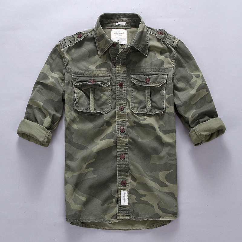 Men Outdoor Hiking Climbing Sports Military Cargo Shirt Spring Autumn Cotton Camouflage Long Sleeve Breathable Tactical