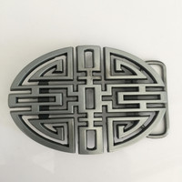 Retail Latest Styles Oval Silver Knot Cowboy Belt Buckle With Metal Belt Head For 4 Cm