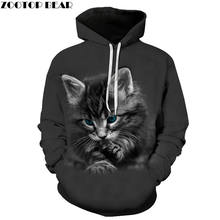 Newest Hoodies Men Brand Streetwear Boy Casual Long Sleeves Fashion Sweatshirts Gray Cat Animal 3D Print Drop Ship ZOOTOP BEAR(China)