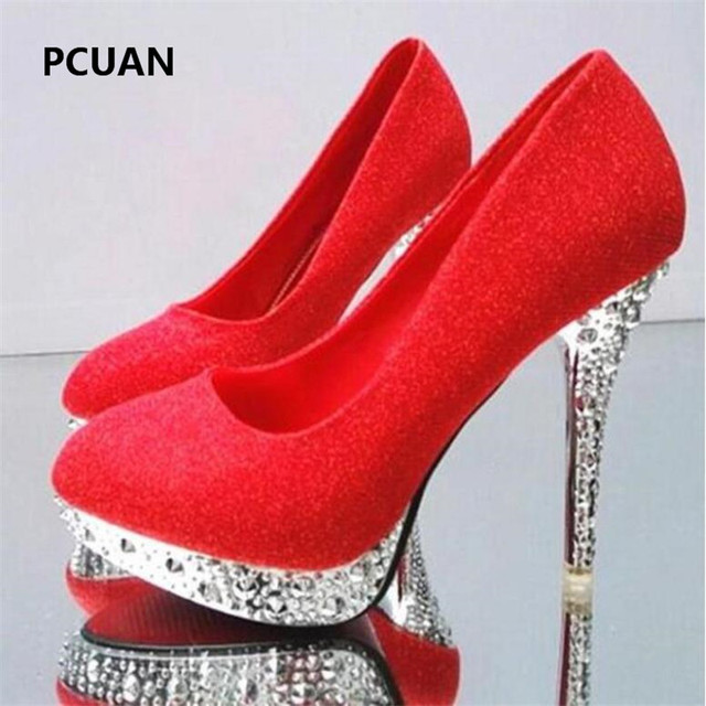 Bridal shoes wedding shoes ladies waterproof platform shallow mouth round head high heels crystal sequins 11cm high heels 35-41 2