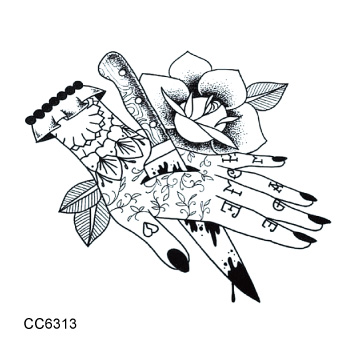 Old School Style Rose Dagger Stabbed My Hand Vintage Temporary Tattoo Sticker Body Art Water Transfer fake tattoo 6X6cm 11