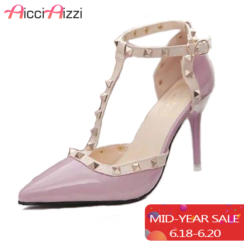 AicciAizzi Hot Women Pumps Ladies Sexy Pointed Toe High Heels Fashion Buckle Ankle Strap High Heel Sandals Shoes size 34-40
