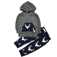 New Tops Hoodie Top Pant Leggings Cute Animals Kids Baby Clothes Set Warm Outfits Deer Baby