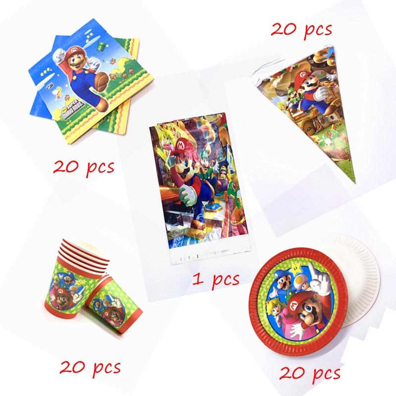 Супер Марио тема 81 шт./лот День Рождения вечерние посуда набор питания одноразовые чашки, китацский, флаг Скатерть украшения поставки