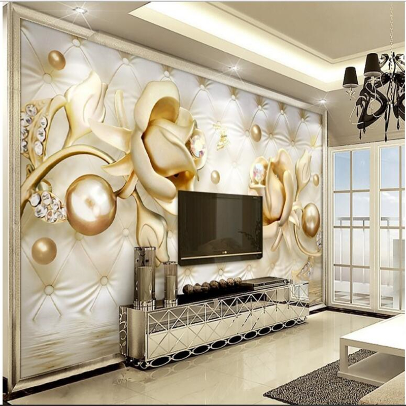 Beibehang Custom Wallpaper Large Fresco 3d Luxury Golden Rose