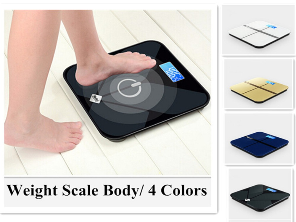 High Precision! Digital Home Health Weight Scale Toughened Glass Electronic Weigher Body Measuring Floor Balance Scales 4 Color ...