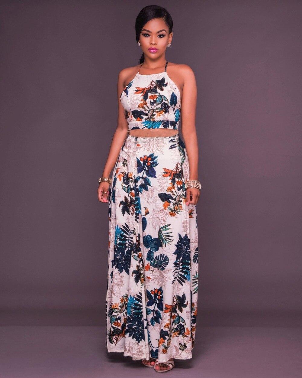 76ae822b68 Mujeres impresión floral Maxi falda traje verano Cross back crop top y alta  cintura falda 2 unidades verano backless falda larga Sets en Sets mujer de  La ...