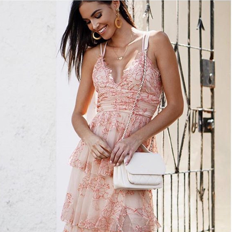 High Quality 2018 Summer Backless Beach Dress V-neck Lace Vocation and Holiday Sexy Women Strapless Nude Maxi Dress ...