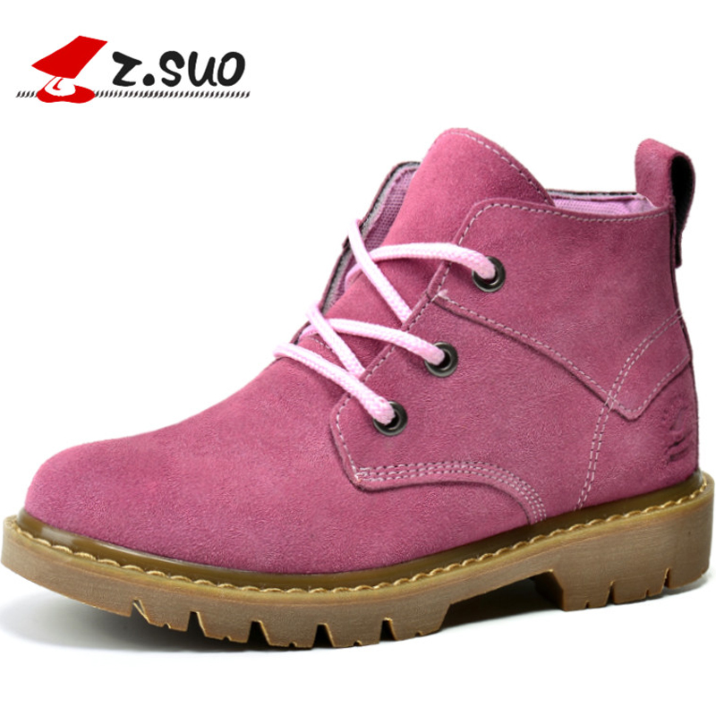 ФОТО Z.SUO 2017 Genuine Leather Boots Spring Autumn Ankle Boots Motorcycle Boots Platform Martins Work Women Boots outdoor shoes