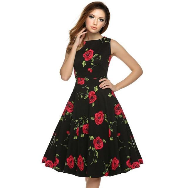 f16e58566229 Sweet Cute Women Sleeveless Knee-length 1950s 20s Vintage Retro Dress  Bow-knot Swing Dress Floral Print Rose Summer Dresses