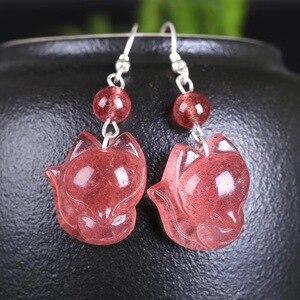 Image 5 - Hurtownie naturalne kryształowe kolczyki Caved Fox spadek kolczyki szczęście dla kobiet dziewczyna prezent kryształ biżuteria