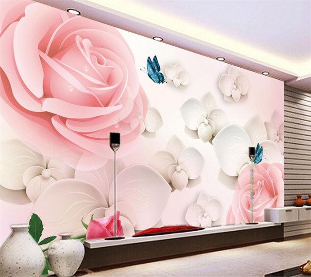 Beibehang Custom Wallpapers Rose Flowers 3D Stereo TV Wall ...