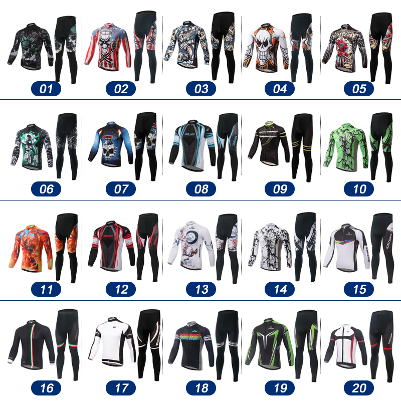 XINTOWN Autumn Winter Men Bicycle Bike Clothing Long Sleeves Jersey Cycling Jersey Cycling Bike Team Clothing Riding suits