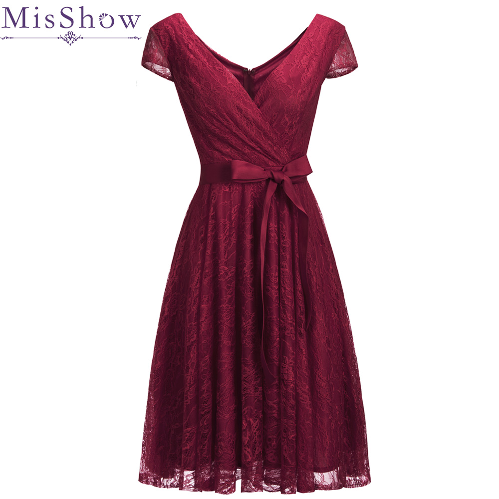 New Arrival Burgundy   Evening   Gowns Women Red Lace Sleeveless   Evening     Dresses   Abendkleider 2019 Short Prom Party Formal   dresses