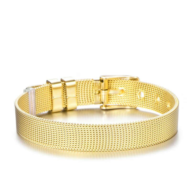 Różowe złoto kolor siatka ze stali nierdzewnej zestaw bransoletek kryształ w kształcie serca Charm bransoletka marki bransoletka dla miłośników kobiet prezent dla dziewczyny