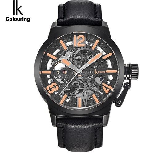 IK coloring hombres relojes mecánico esqueleto resistente al agua reloj masculino Auto reloj militar Horloges Mannen-in Relojes mecánicos from Relojes de pulsera    1
