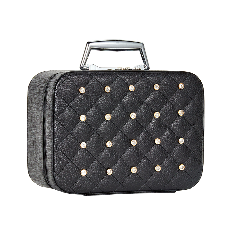 Fashion With Diamond Portable Leather Makeup Bags Large Capacity waterproof Cosmetic Trunk Bag Causal Travel Make Up Box Case