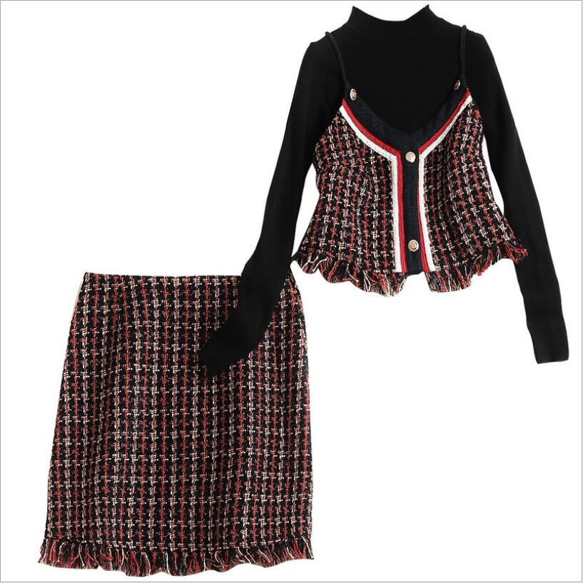 Roulé Marque Black Femmes Automne Camisoles blue Pull Et Col Arrivée Pièces Nouvelle Mode Sexy Jupe Tweed Printemps 2018 3 Black Ensemble Gland Costumes Red EWv7vngqx