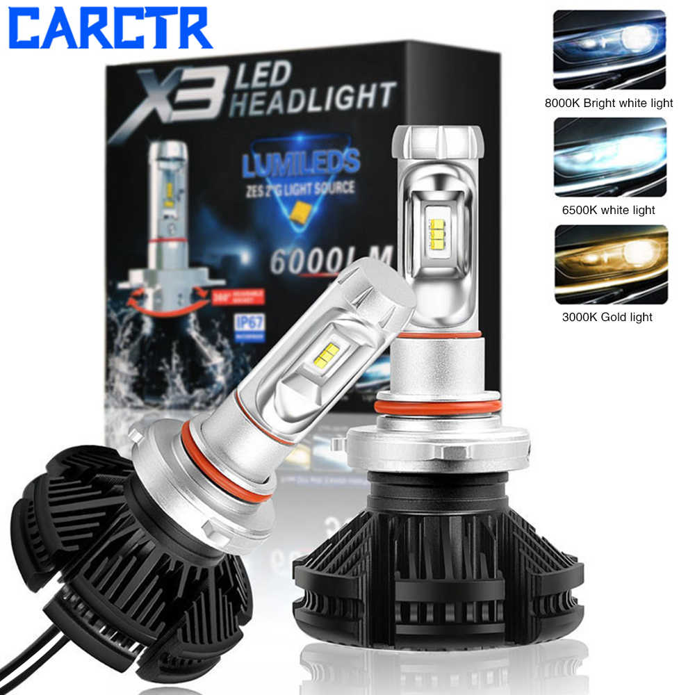 CARCTR 3000K 6500K 8000K Led Car Headlight Bulb H4 H7 LED H3 H1 H8 H9 880 9004 9007 9008 HB3 9012 Car Light ZES Chip 50w 6000LM