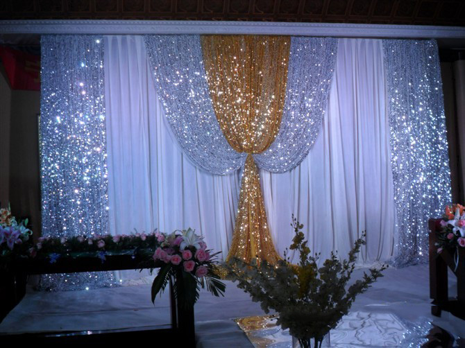 Order: 1 Piece. Customize Item Luxurious Decoration Gold Wedding Backdrop  Swag Bling Wedding Drape Wedding Decoration Backdrop 3*
