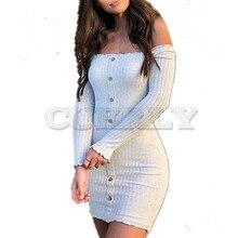 Cuerly 2019 summer Sexy Slim Dress Women Solid Color Off Shoulder Long Sleeve Slash Neck Bodycon Mini Party Dresses Vestidos