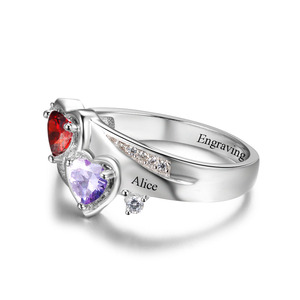 Image 5 - Promise Ring Personalized Engrave Name Custom Heart Birthstone Ring 925 Sterling Silver Rings For Women Gift (JewelOra RI102502)