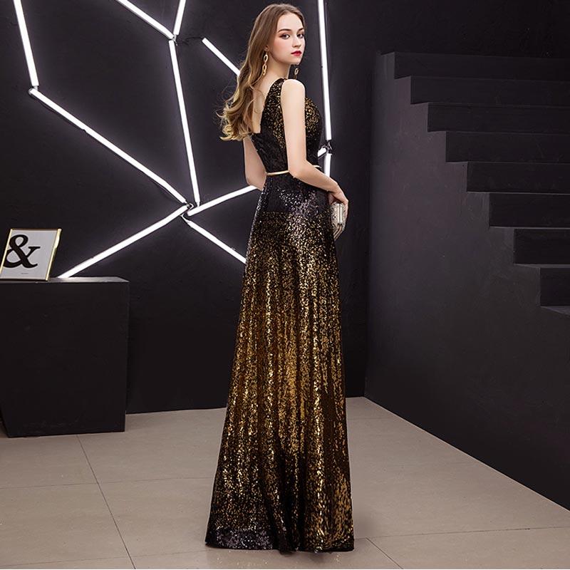 FADISTEE New Vestido De Festa Sweet Long Evening Dress Bride Party sleevesless sequins Prom Dresses gold black slit neck 2019