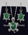 free shipping>>> Wholesale lady Women Jewelry green jade Tortoise silver Pendant Necklace Earring (A0511)