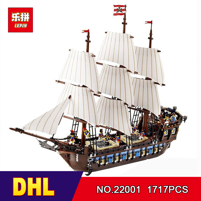 DHL LEPIN 22001 Pirate Ship warships Model Building Kits Block Briks Boy Educational Toys Model Gift 1717pcs Compatible 10210 new lepin 22001 pirate ship imperial warships model building kits block briks toys children gift compatible 10210 educational