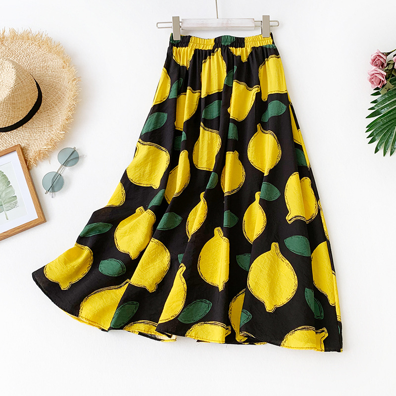 2020 Summer New Arrival Women A-line Long Skirt Korean Lemon Pattern Printing Style Cotton Free Shipping
