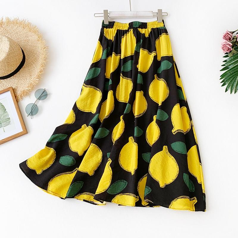 2020 Summer New Arrival Women A-line Long Skirt Korean Lemon Pattern Printing Style Cotton Free Shipping