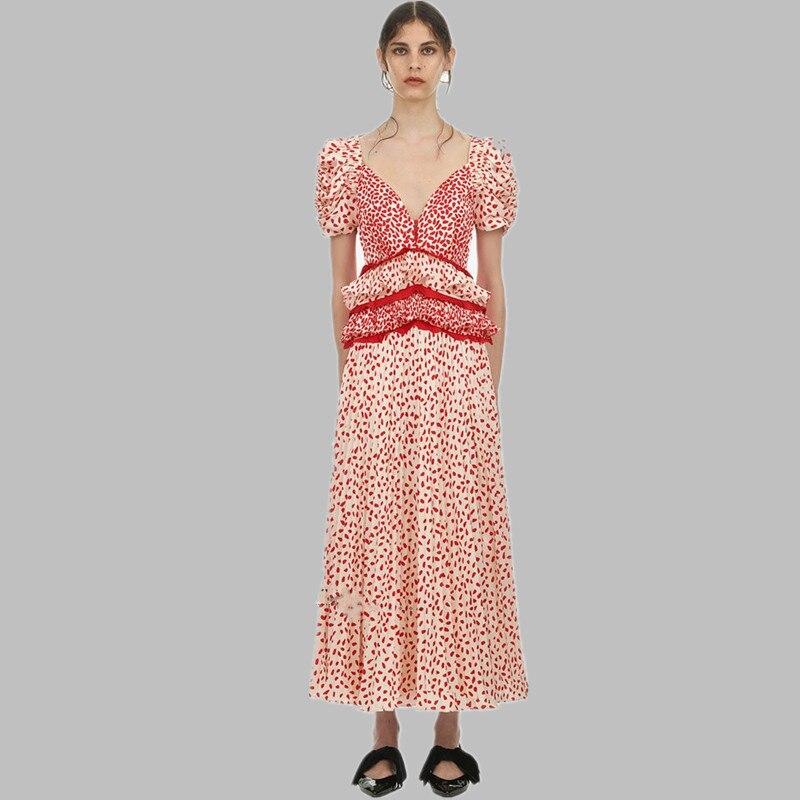 Nouveau 2019 piste auto Portrait longue robe d'été femmes rouge imprimé volants en mousseline de soie Patchwork dentelle robe Sexy col en V Maxi Vestidos