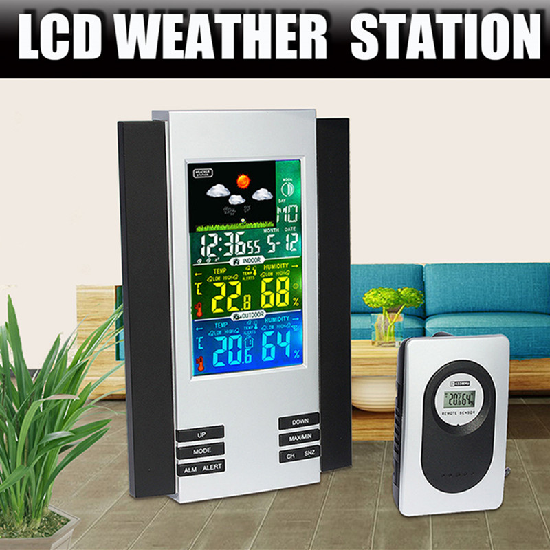 LCD Digital Indoor Outdoor Wireless Weather Station Clock Calendar Thermometer Temperature Tester wireless indoor outdoor weather station thermometer hygrometer calendar clock new arrival