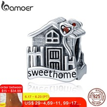BAMOER Fashion New Genuine 100% 925 Sterling Silver Sweet Home Loft Villa Charms fit Bracelets DIY Fine Jewelry SCC416(China)