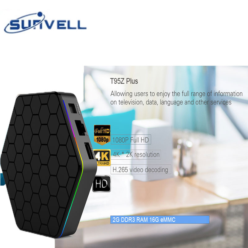 Android 7.1 Sunvell T95Z Plus Mini PC S912 CPU 1000 M LAN Set-top boîte 4 K x 2 K H.265 Décodage 5G Dual Band WiFi Media Player