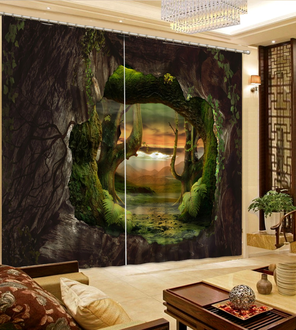 Custom 3D Blackout Window Curtains For Living Room Bed