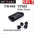 TW400 Inalámbrico monitor de 4 sensores externos tpms sistema de monitoreo de presión de neumáticos Para renault peugeot toyota y todos los coches envío gratis