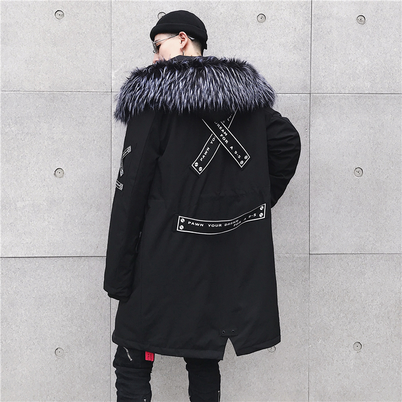 2019 High Street Black Hooded Long Winter Jacket Men   Parka   Men Jacket Winter Puffer Jacket