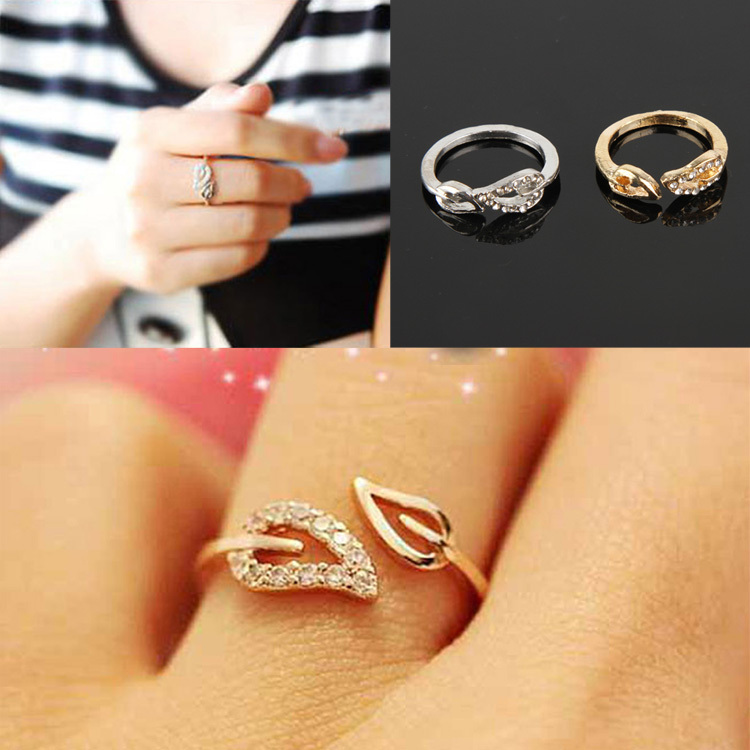Fine Jewelry Womens Fashion Simple Two Leaves Design Crystal Ring ...