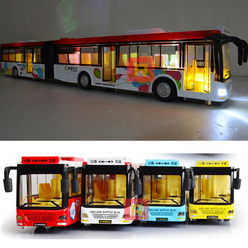36CM 1:50 Scale Diecast Train Bus Model Vehicle Model Double Two Sections Extended Pull Back F Collection W Sound and Light Gift