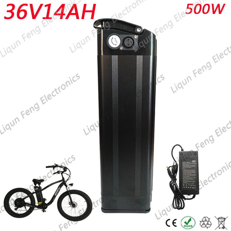 Free Tax 36V 14AH 500W Bicycle Battery 36 V Silver Fish Battery With 42V 2A Charger 36V Electric Bike Battery Bottom Discharge